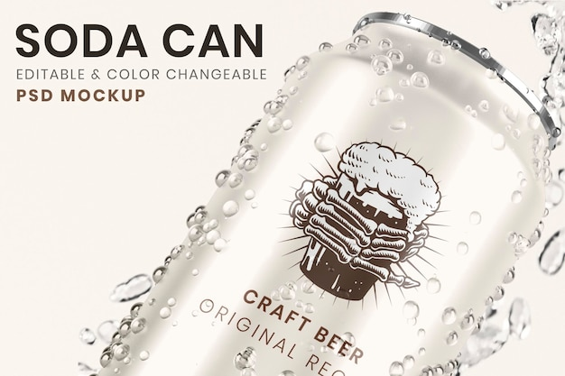 La birra può mockup psd, rinfrescante e fredda