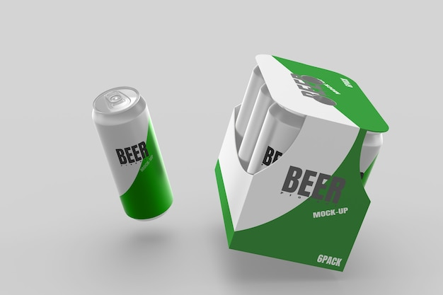 Beer can and pack 3d render mockup