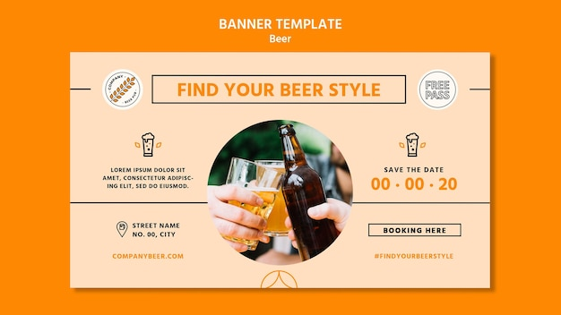 Beer concept banner template