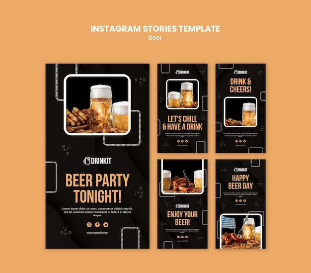 Beer concept instagram stories template