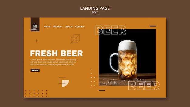 Beer concept landing page template Premium Psd
