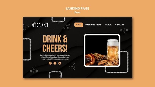 Modello di pagina di destinazione del concetto di birra