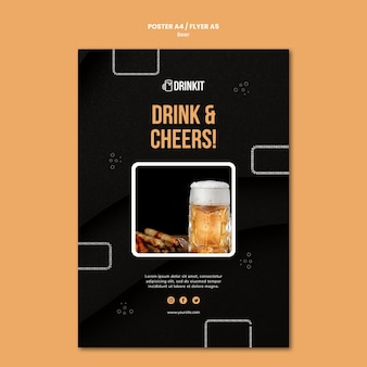 Beer concept poster template Free Psd