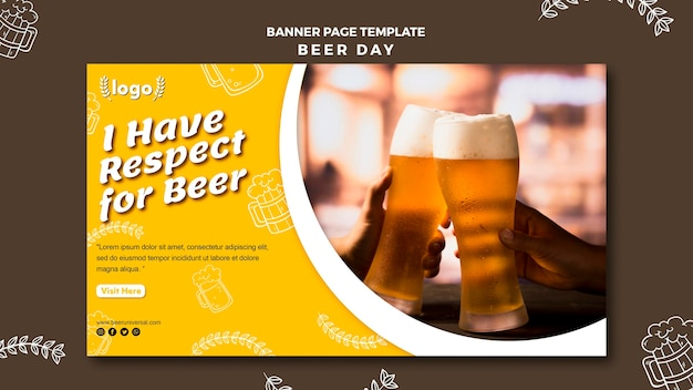 Beer day banner page template