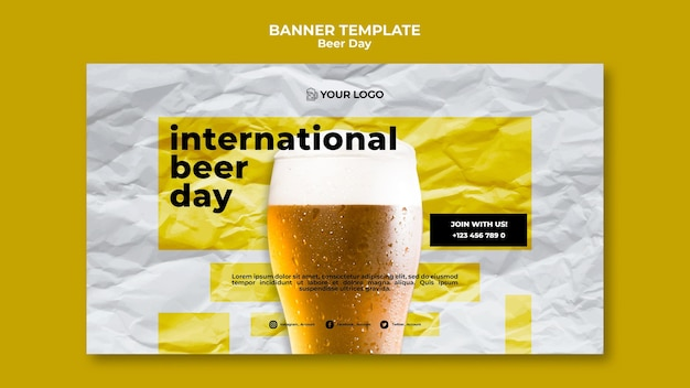 Beer day banner template design