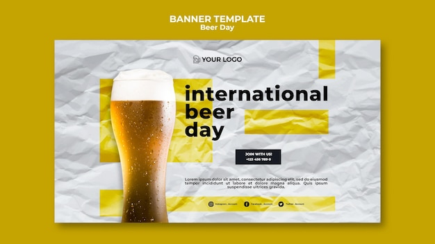 Beer day banner template theme