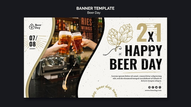 Beer day banner template Free Psd