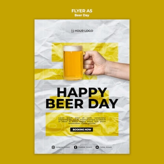 Beer day flyer template concept