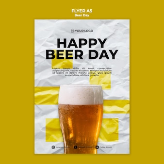 Beer day flyer template design