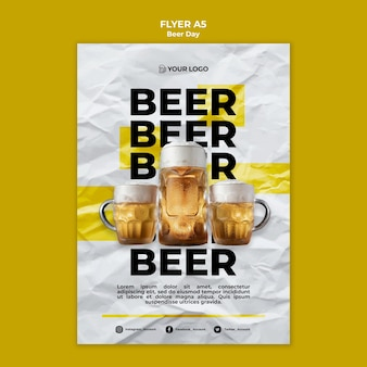 Beer day flyer template