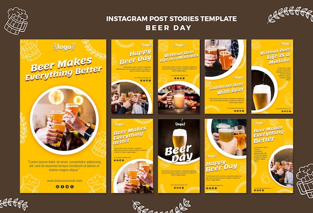 Beer day instagram post template