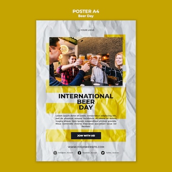 Beer day poster template concept