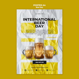 Beer day poster template design