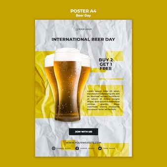 Beer day poster template theme