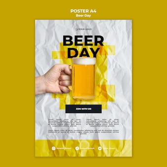 Beer day poster template