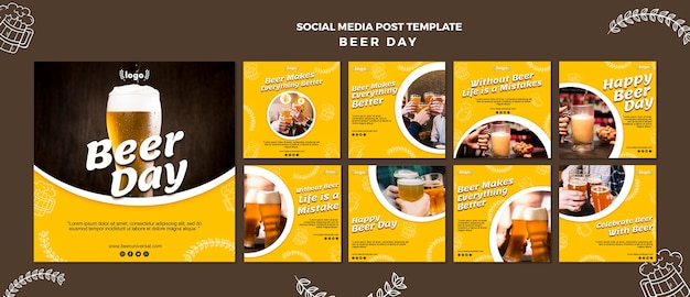 Beer day social media post template
