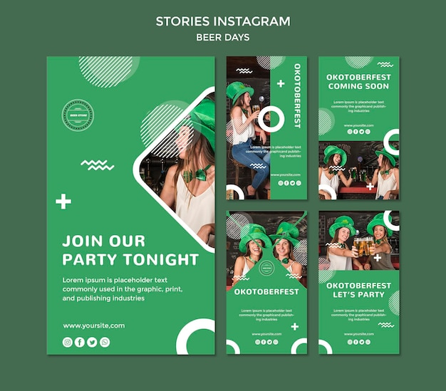 Beer day stories instagram concept