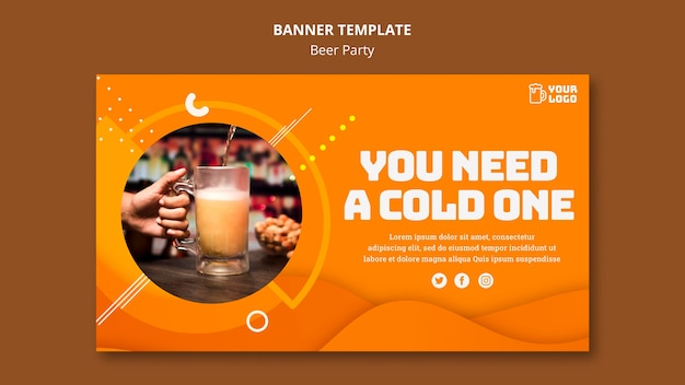 Beer party banner theme