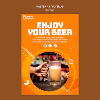 Beer party poster concept Free Psd