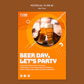 Beer party poster template Free Psd