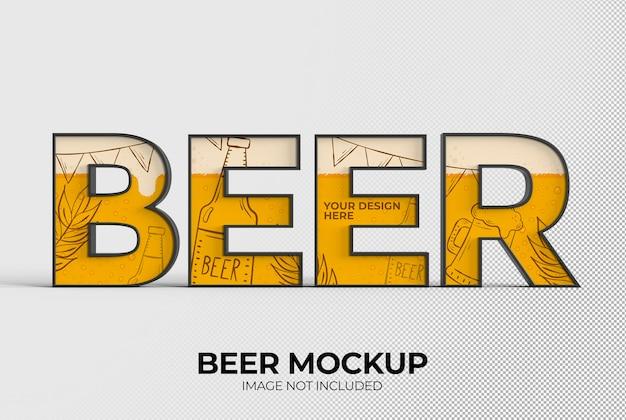 Beer word sign mockup for advertising or branding beer day oktoberfest