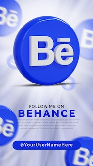 Behance glossy logo and social media icons story