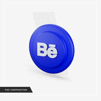 3d 렌더링의 behance 아이콘