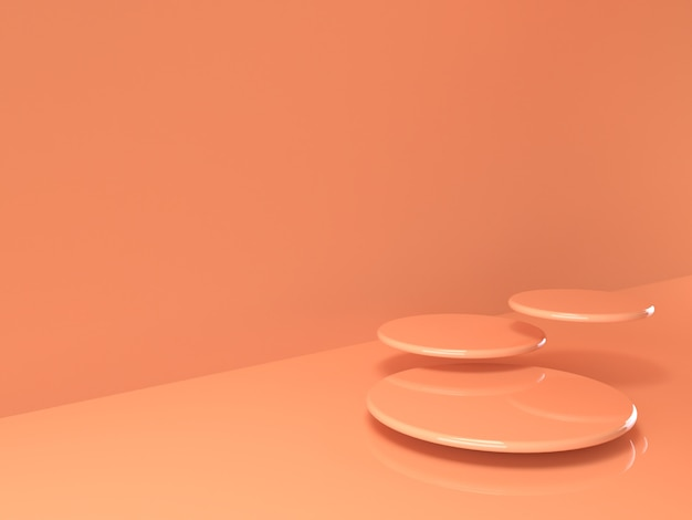 Beige pastel product stand on background. abstract minimal geometry concept