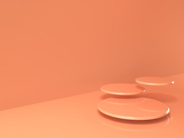 베이지 색 파스텔 제품은 배경에 서 있습니다. 추상 최소한의 형상 개념