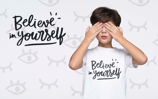 Believe in yourself young cute boy mock-up
