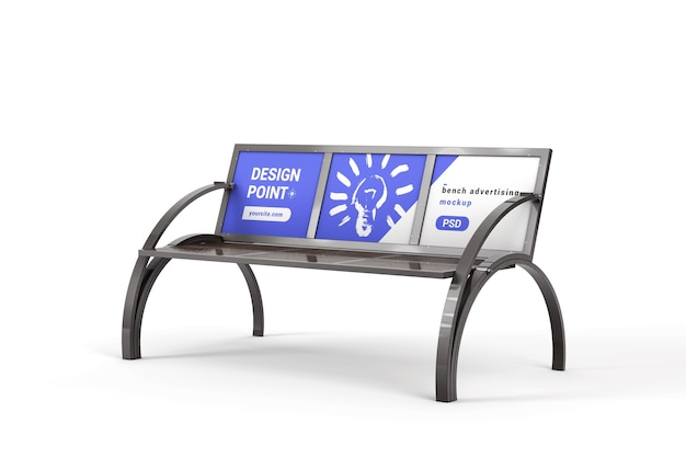 Bench billboard display for advertising mockup
