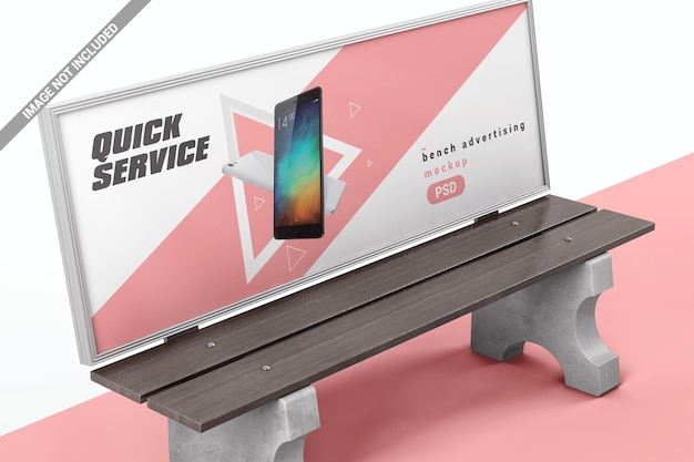 Bench with display for advertising mockup