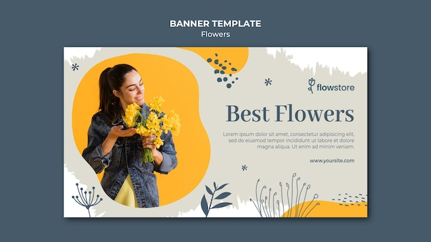Best bouquet of flowers banner template