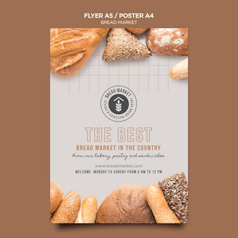 Best bread market poster template
