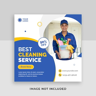 Best cleaning service for home square social media post template