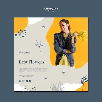 Лучший цветочный магазин квадратный флаер шаблон