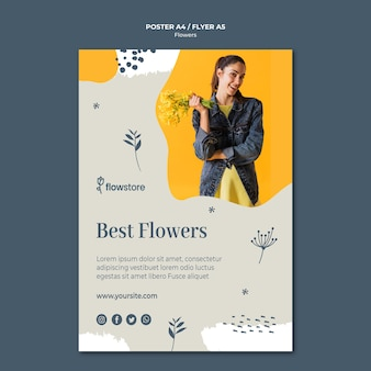 Best flowers and cute businesswoman poster template
