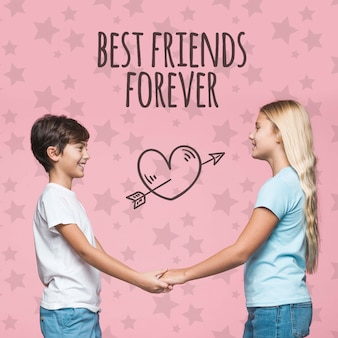 Best friends boy and girl mock-up