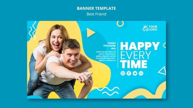 Best friends horizontal banner template