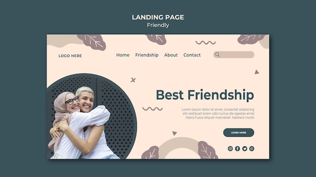 Best friendship landing page template