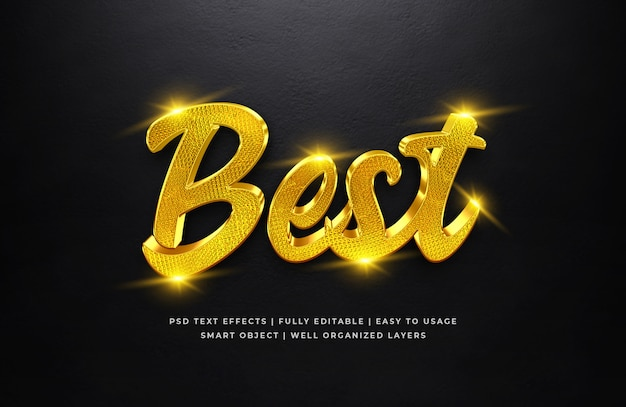 Best gold 3d text style effect