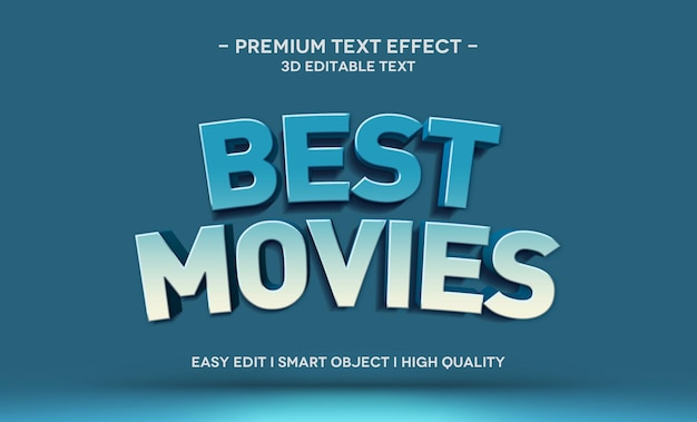 Best movies 3d text style effect template