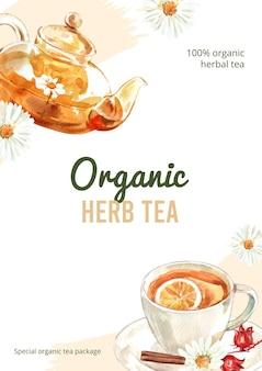 Лучший плакат с органическим травяным чаем