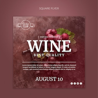 Best quality wine square flyer template