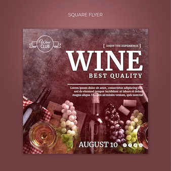 Шаблон флаера винного квадрата высшего качества