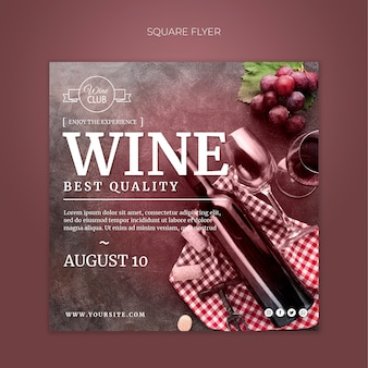 Best quality wine square flyer