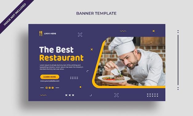 Best restaurant simple horizontal web banner or social media post template