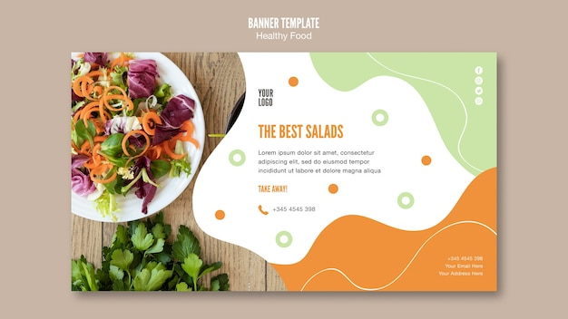 最高のサラダとパセリのバナーテンプレート