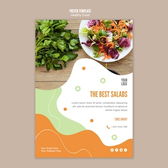 Best salad and parsley poster template