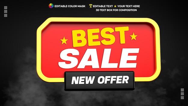 3d 렌더링 배너에서 새로운 제안과 함께 최고의 판매 3d 텍스트 상자
